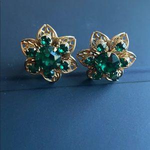 Vintage screw back green earrings